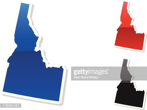 Idaho State in 3 colors Clipart Image.