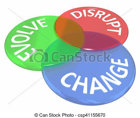 Stock Illustrations of Change Evolve Disrupt Innovate New Idea.