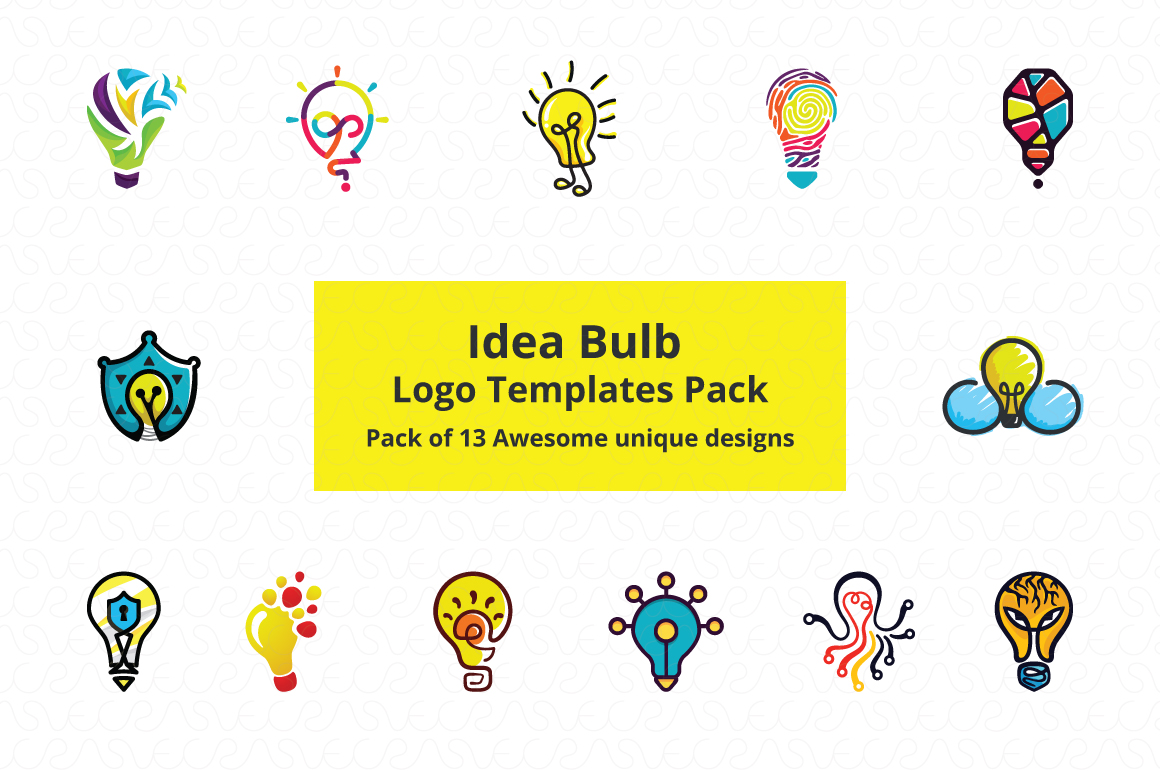 Ideas Bulb Logo Templates Pack of 13 Awesome unique designs.