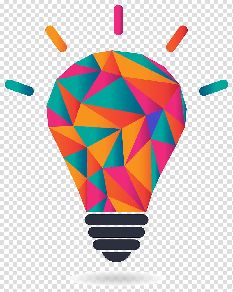 Multicolored light bulb illustration, Graphic Designer Logo.