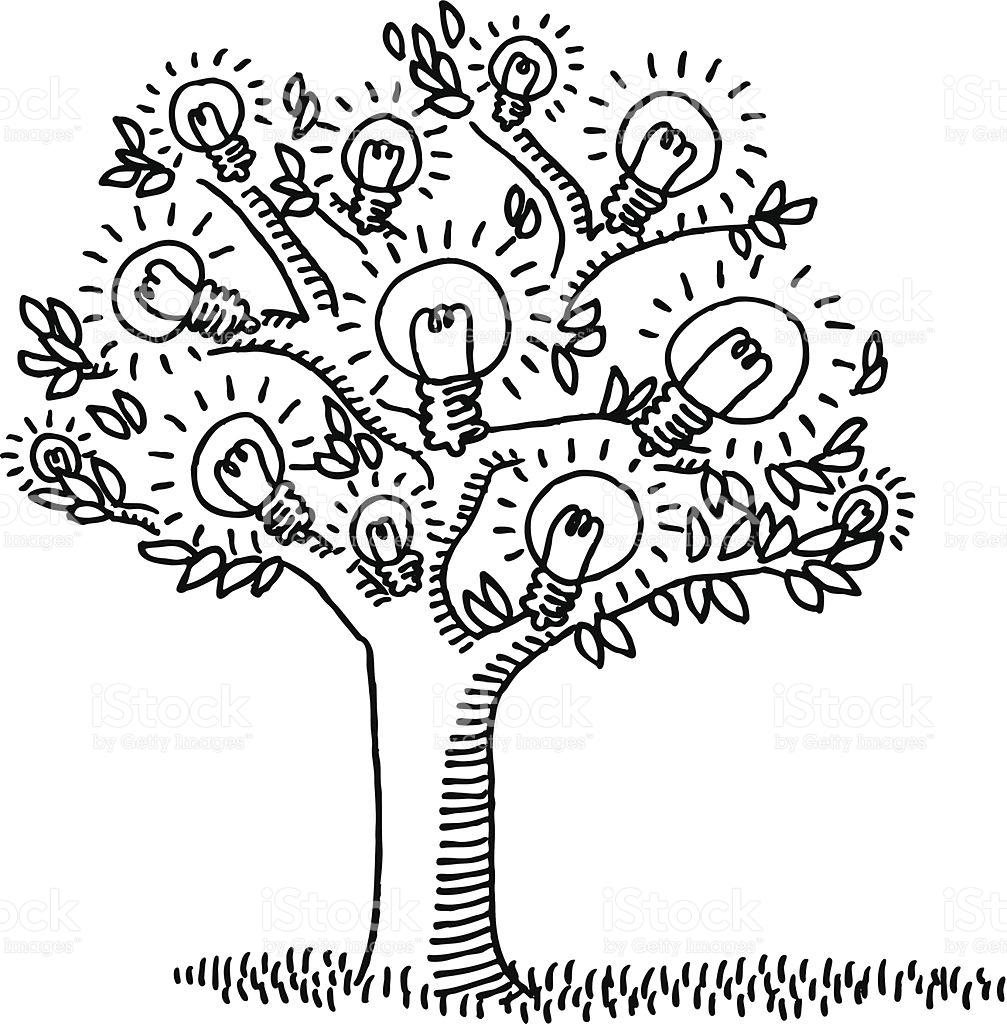 Light Bulb Idea Tree Drawing stock vector art 452655777.