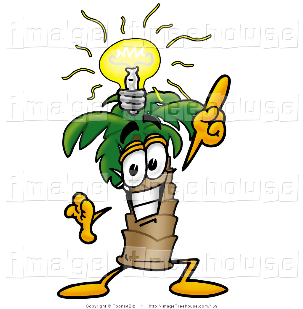 Clipart of a Happy Palm Tree Mascot Cartoon Character with a.
