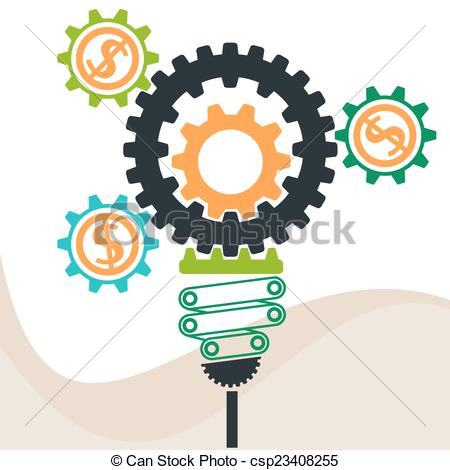 Idea With Gears Clipart.