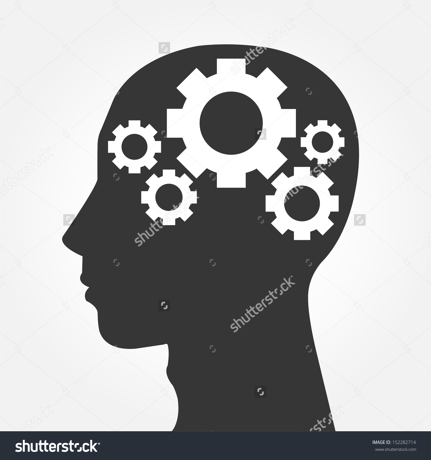 Head With Gears Clipart.