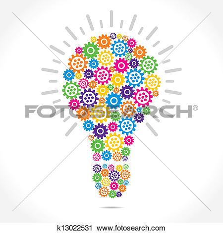 Clip Art of Idea Light Bulb With Gears k22426606.