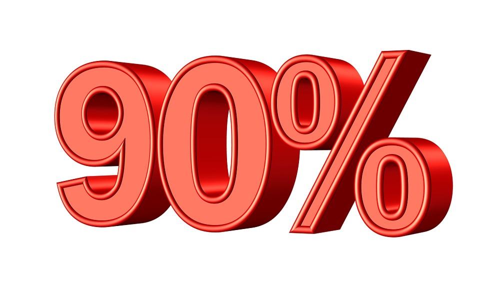 Free illustration: Nintey, 90, Percent, Statistic.