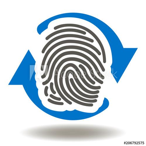Thumbprint Circular Arrows Icon Vector. Scanning Fingerprint.