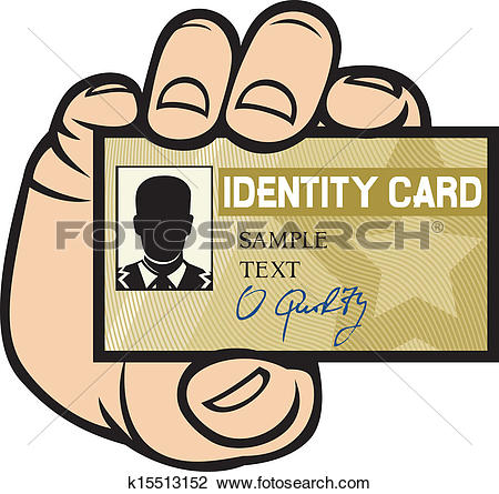 Clipart of hand holding ID card k15513152.
