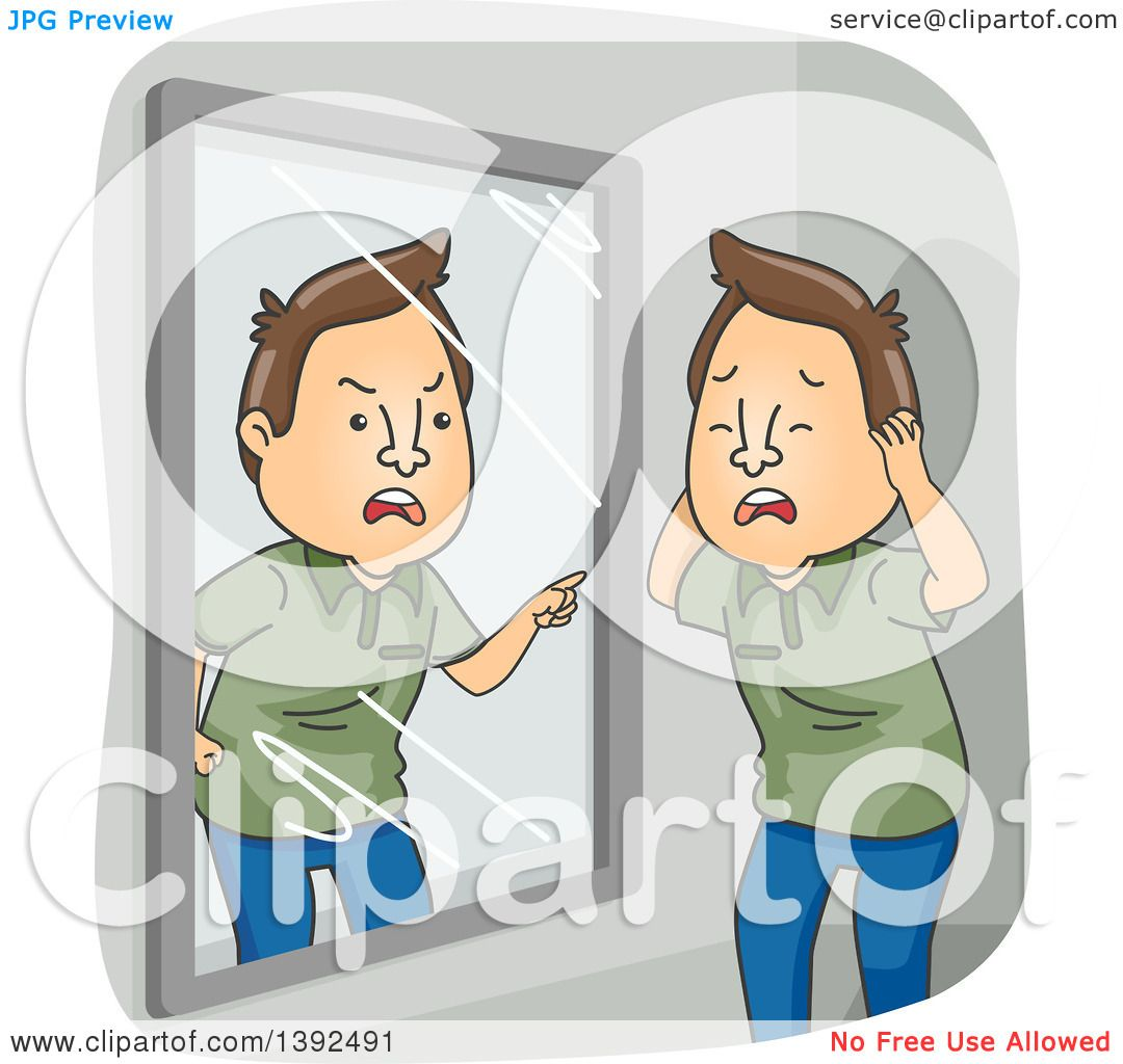 Clipart of a Cartoon Brunette White Man with Dissociative Identity.
