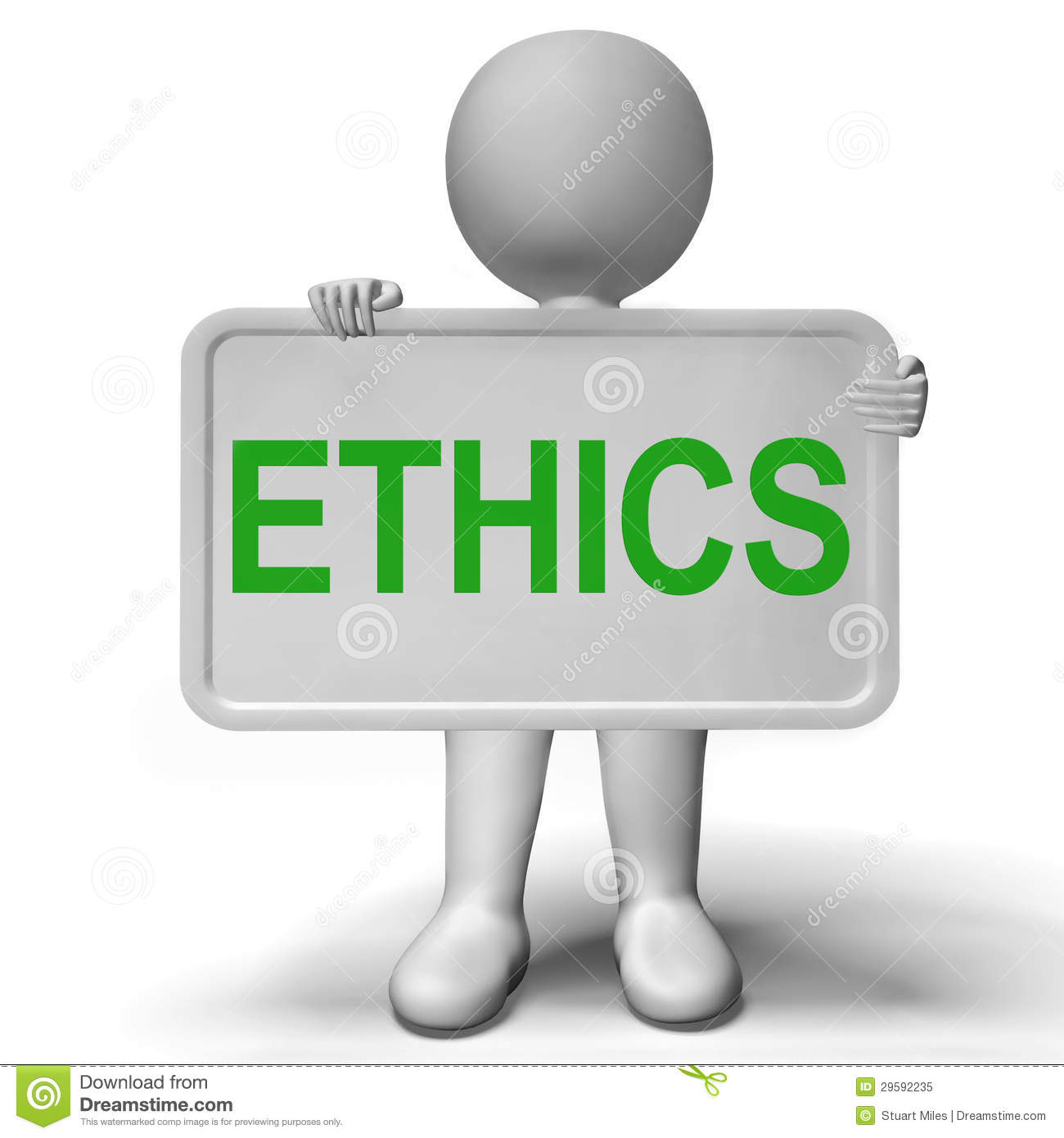 Ethics Sign Showing Values Ideology And Principles Royalty Free.