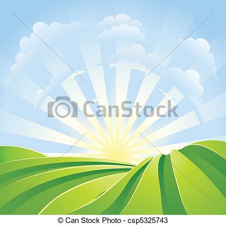 Vektoren von blaues, idyllisch, Felder, sonnenschein.