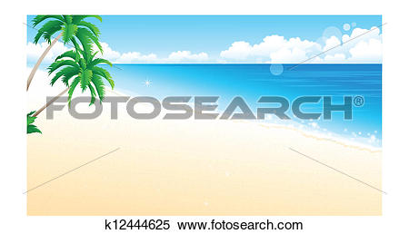 Clipart of Idyllic Beach with Palm Tree k12444625.