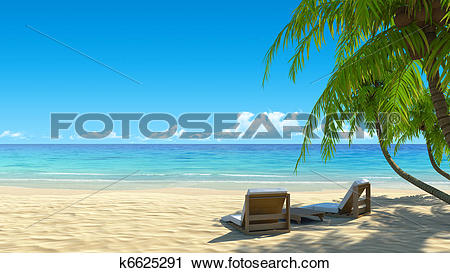 Clipart of Two beach chairs on idyllic tropical white sand beach.