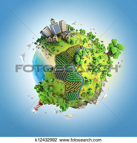 Clip Art of globe concept of idyllic green world k12432992.