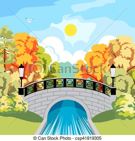 Vector Clipart of Solar autumn in the park idyllic.