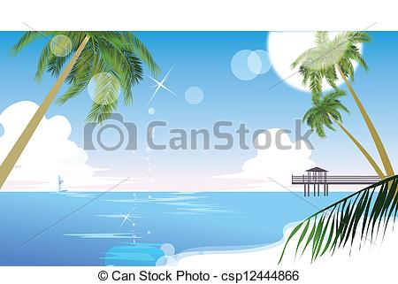 Clip Art Vector of Idyllic beach with palm tree.