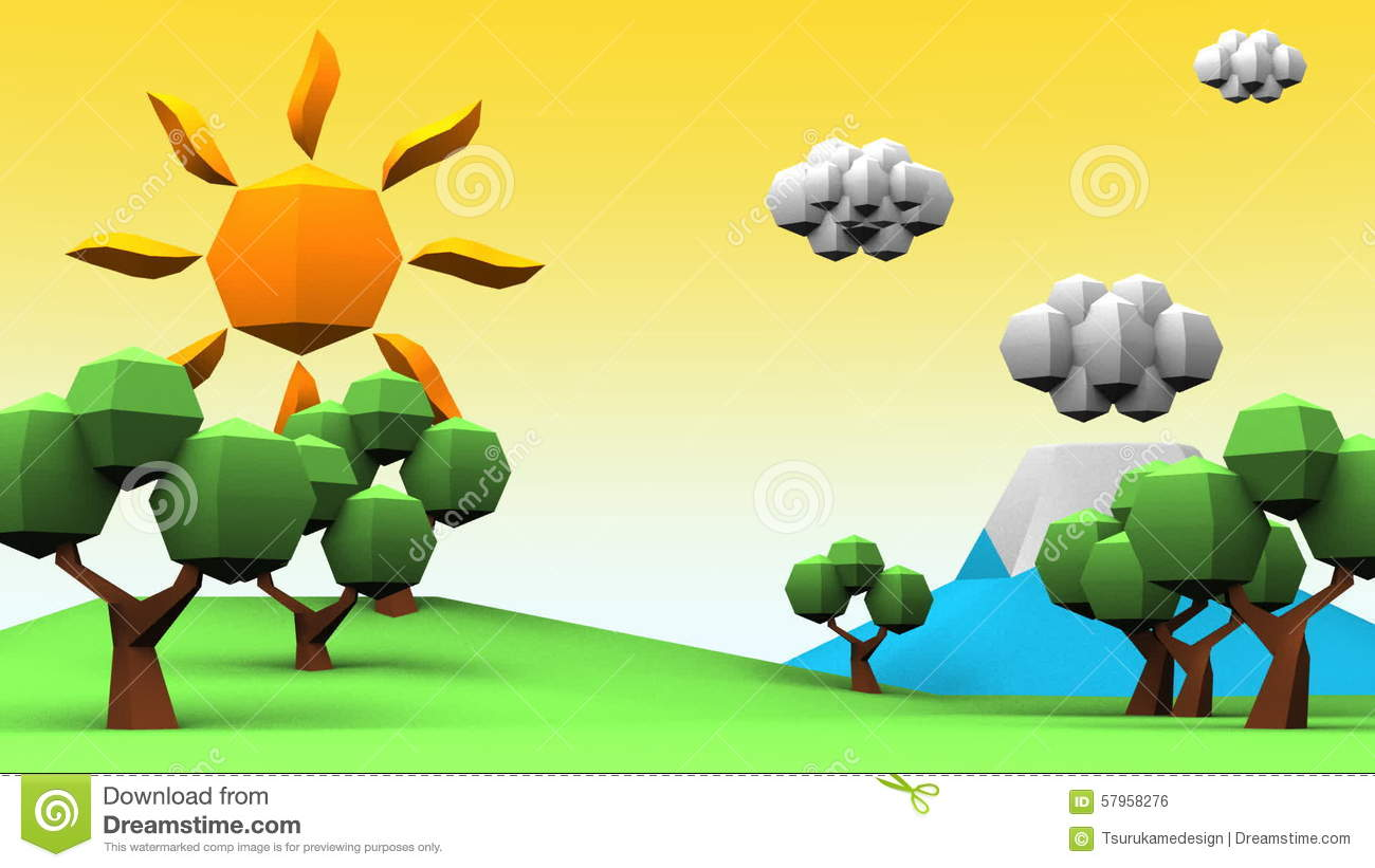Loopable Idyllic Scenery Low Poly Animation Stock Footage.