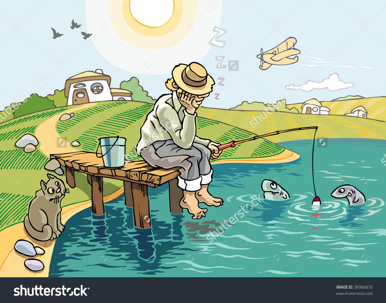 Idyllic Scene Fishing Countryside Fisher Sleeps Stock Vector.