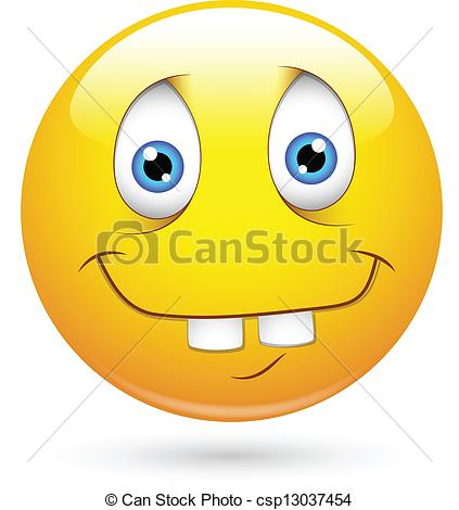 Clipart Vector of Idiot Funny Smiley Face.