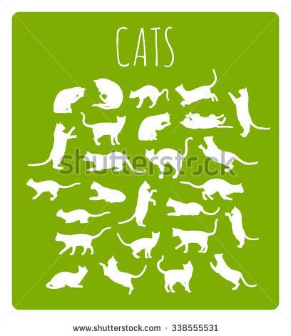 Set Of 26 Different Cat Silhouettes In Various Idle And Moving.