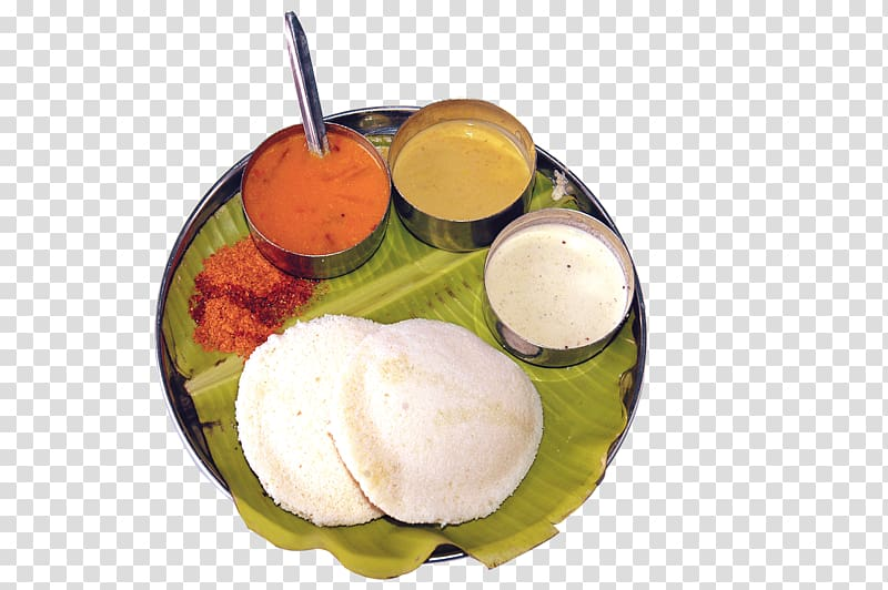 Cooked food with sauces, Breakfast Idli Tiffin Food.