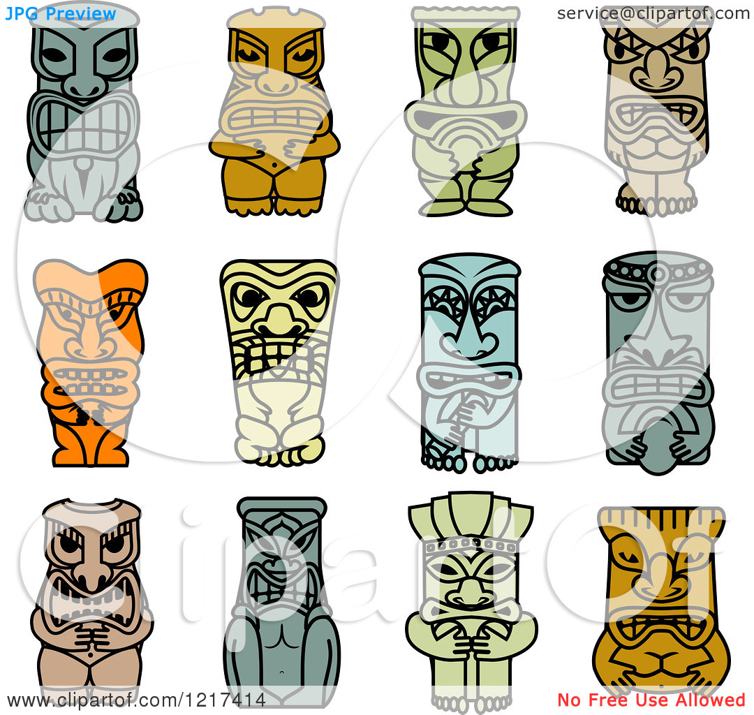 Clipart of Idol and Demon Tribal Masks 2.