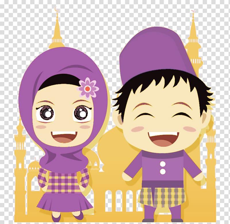 Girl and boy illustration, Eid al.