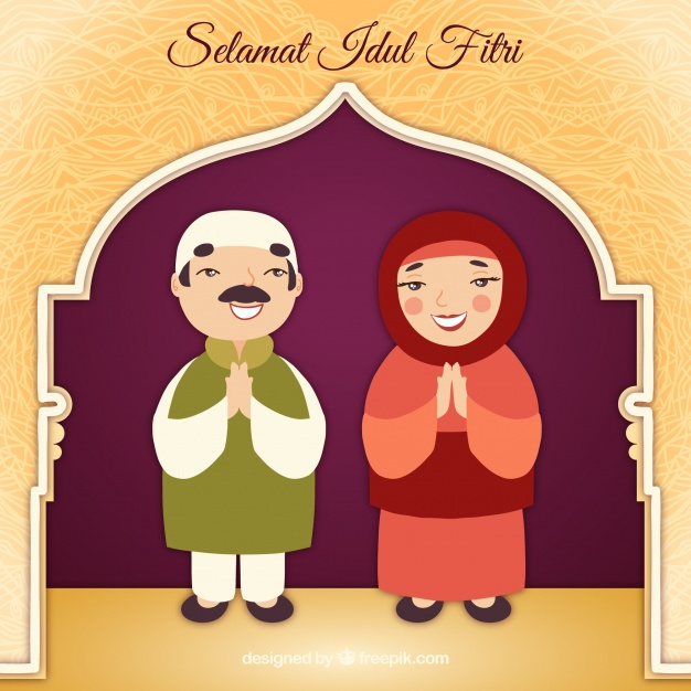 Idul fitri background with muslim couple Vector.