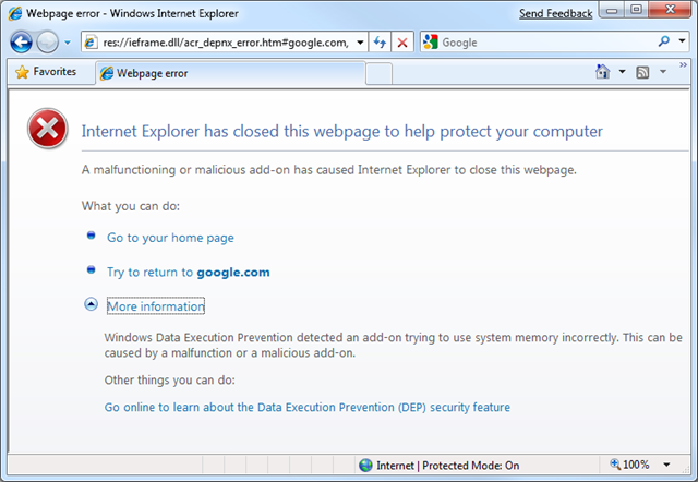 Slick IT: Internet Explorer: Fix IE8 DEP Crashes.