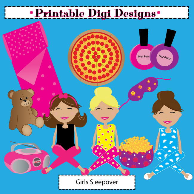 Sleepover Party Clipart.
