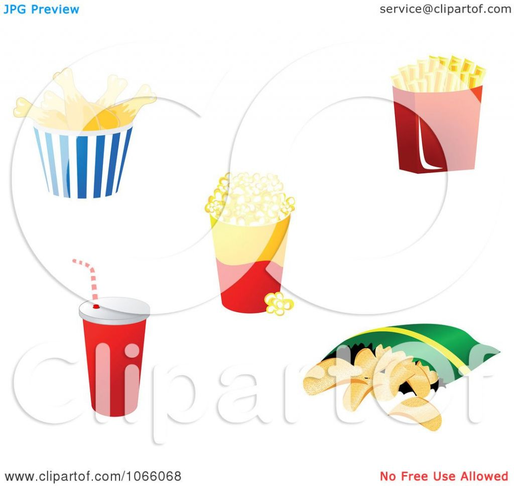 Clipart Chicken Ies Popcorn Soda And Potato Chips.