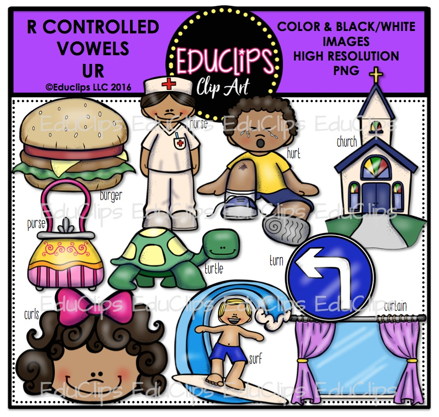 R Controlled Vowels Clip Art Mega Bundle (Color and B&W).