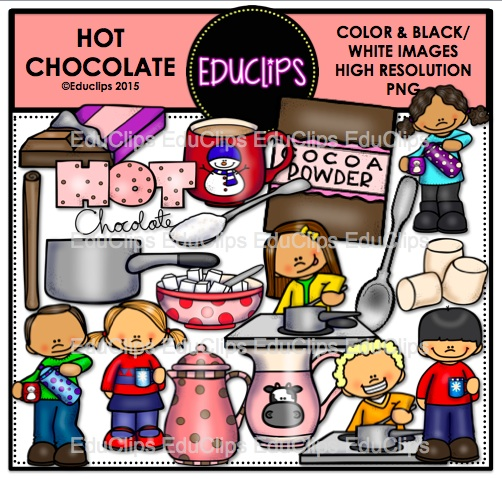 Hot Chocolate Clip Art Bundle (Color and B&W).