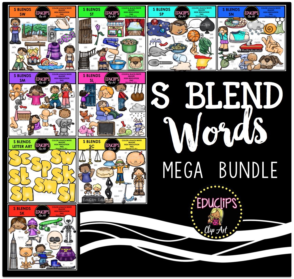 S Blends Clip Art Mega Bundle (Color and B&W).