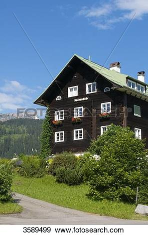 Stock Photograph of House in Kleinwalsertal, Hohr Ifen, Vorarlberg.