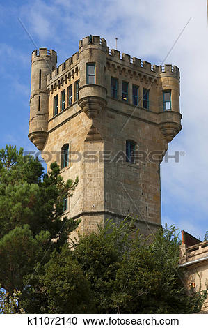 Stock Photography of Castle Mount Igueldo, San Sebastian, Spain.