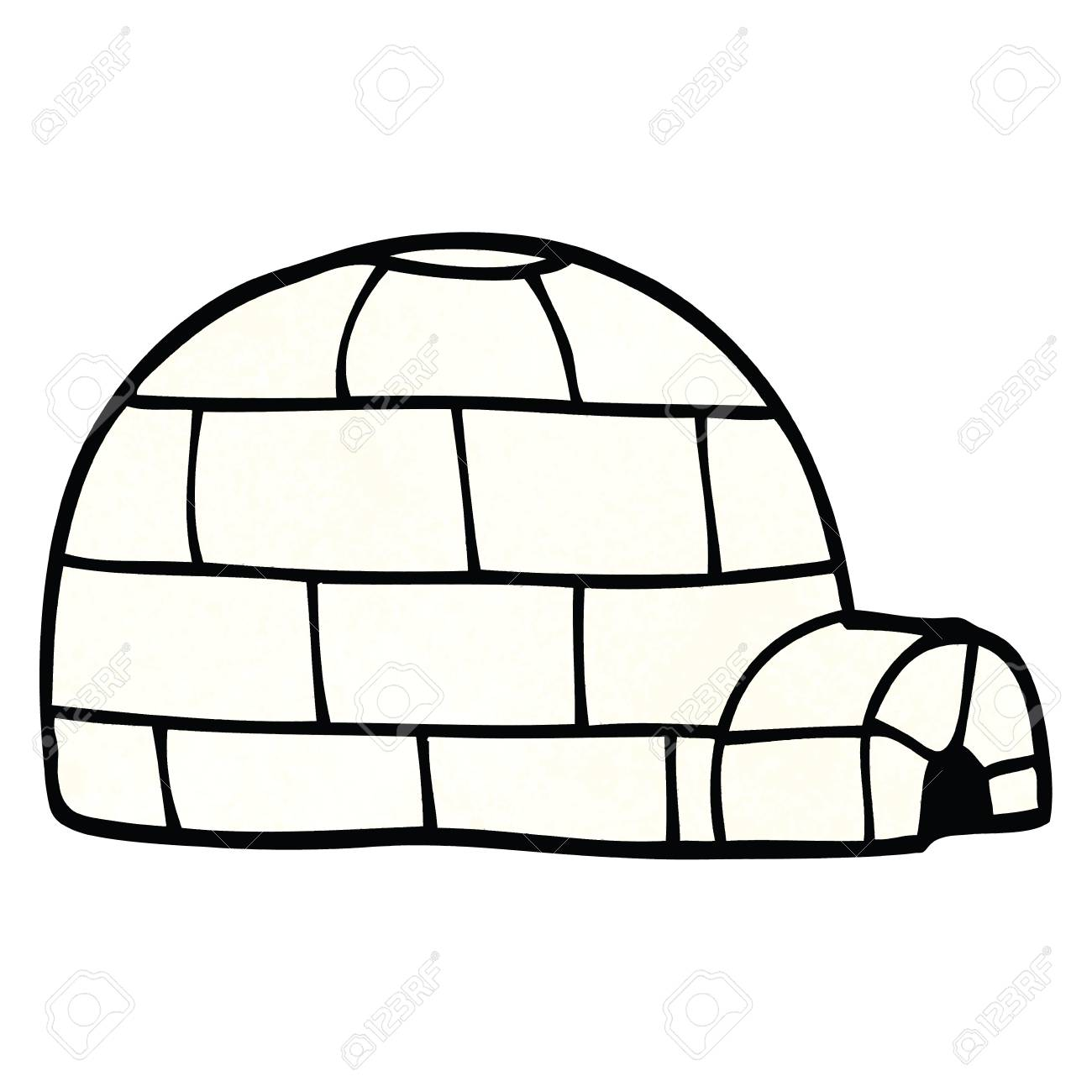 cartoon doodle ice igloo.