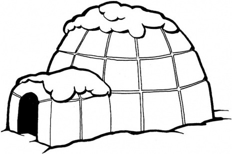Black And White Clipart Igloo.
