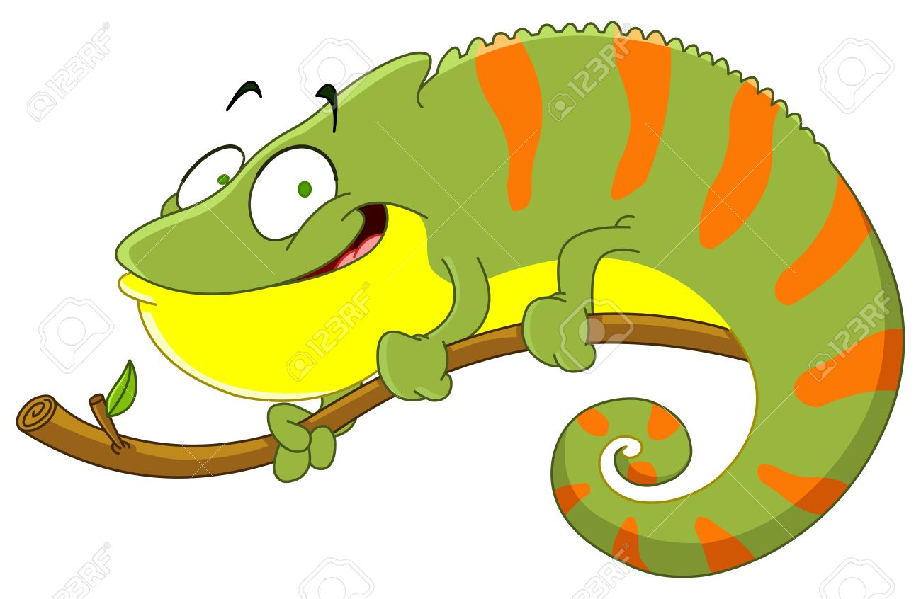 Cartoon iguana clipart.