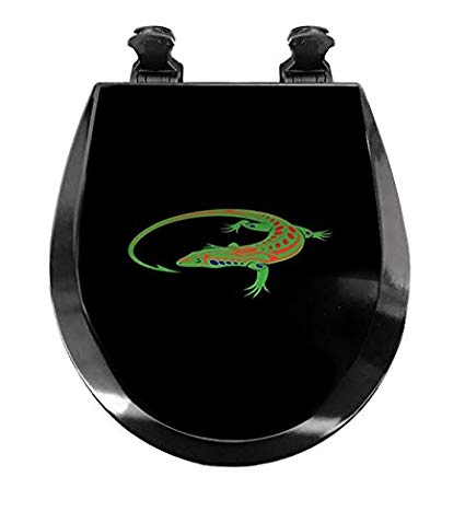 New Black Molded Wood Round Toilet Seat featuring Green.