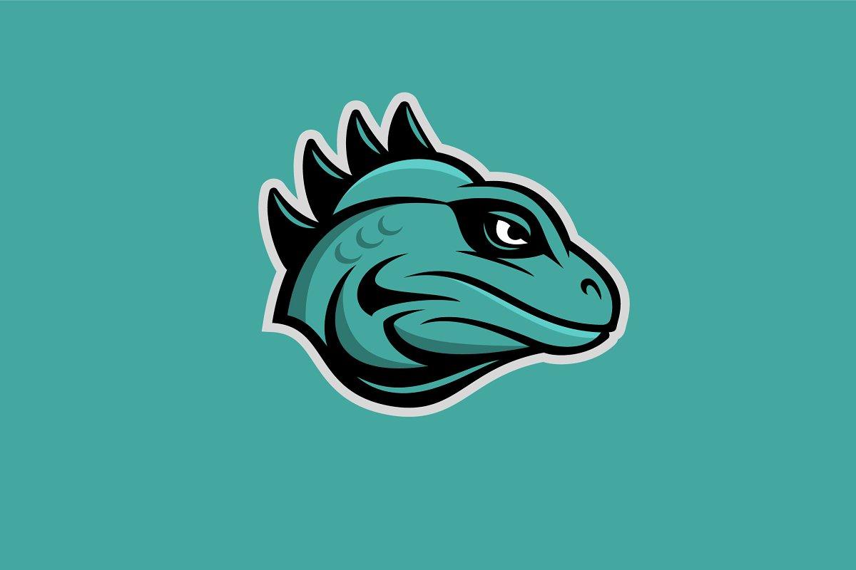 Iguana Mascot Logo.