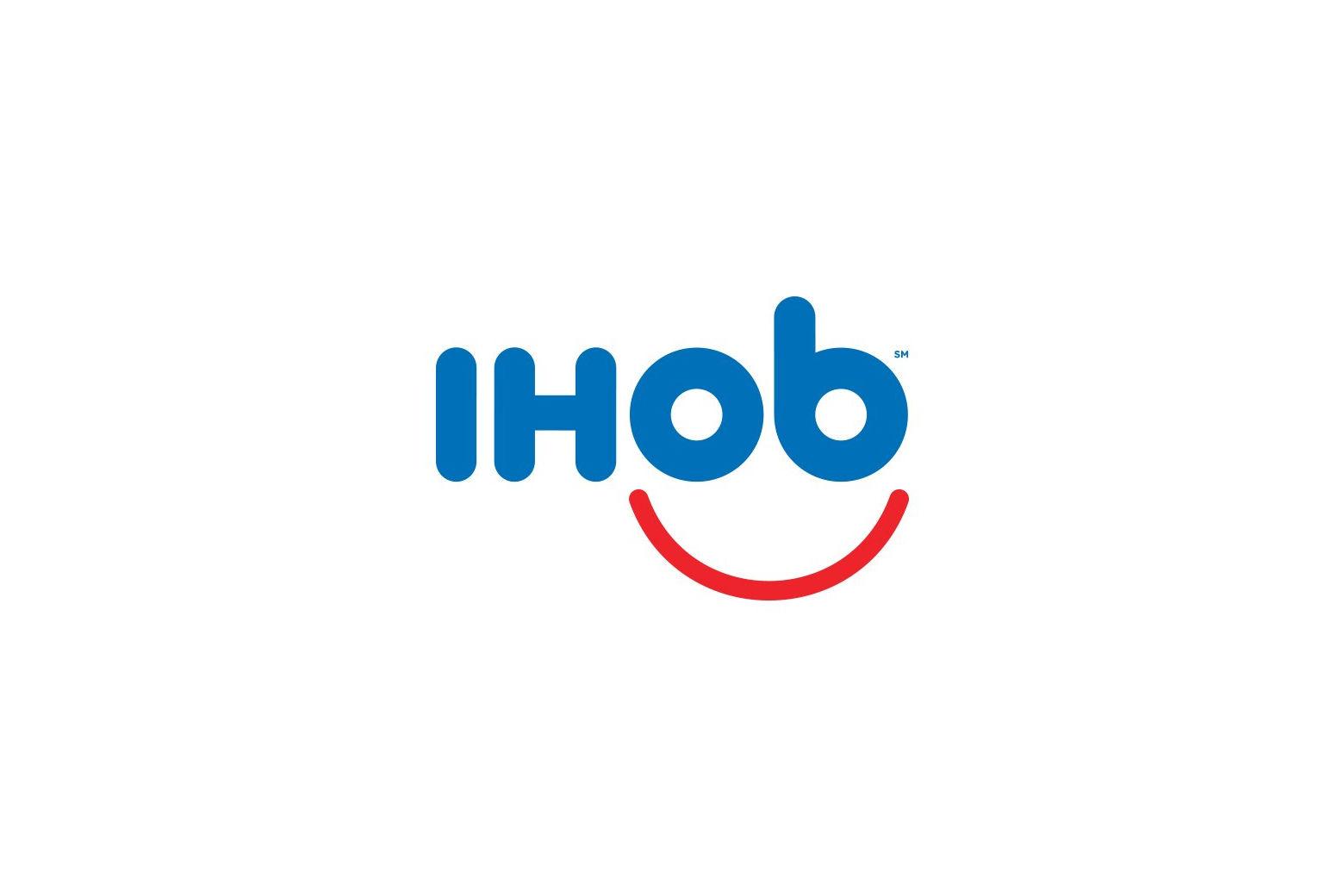 IHOP flips over burgers, changes \'p\' to \'b\' in logo.