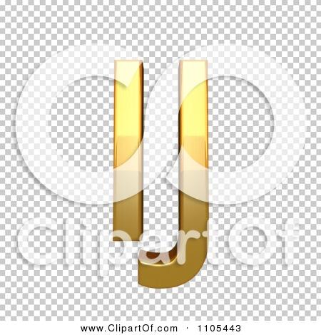 3d Gold capital ligature ij Clipart Royalty Free CGI Illustration.