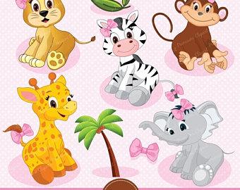 80% OFF SALE Safari animals digital clipart, jungle clip art, baby.
