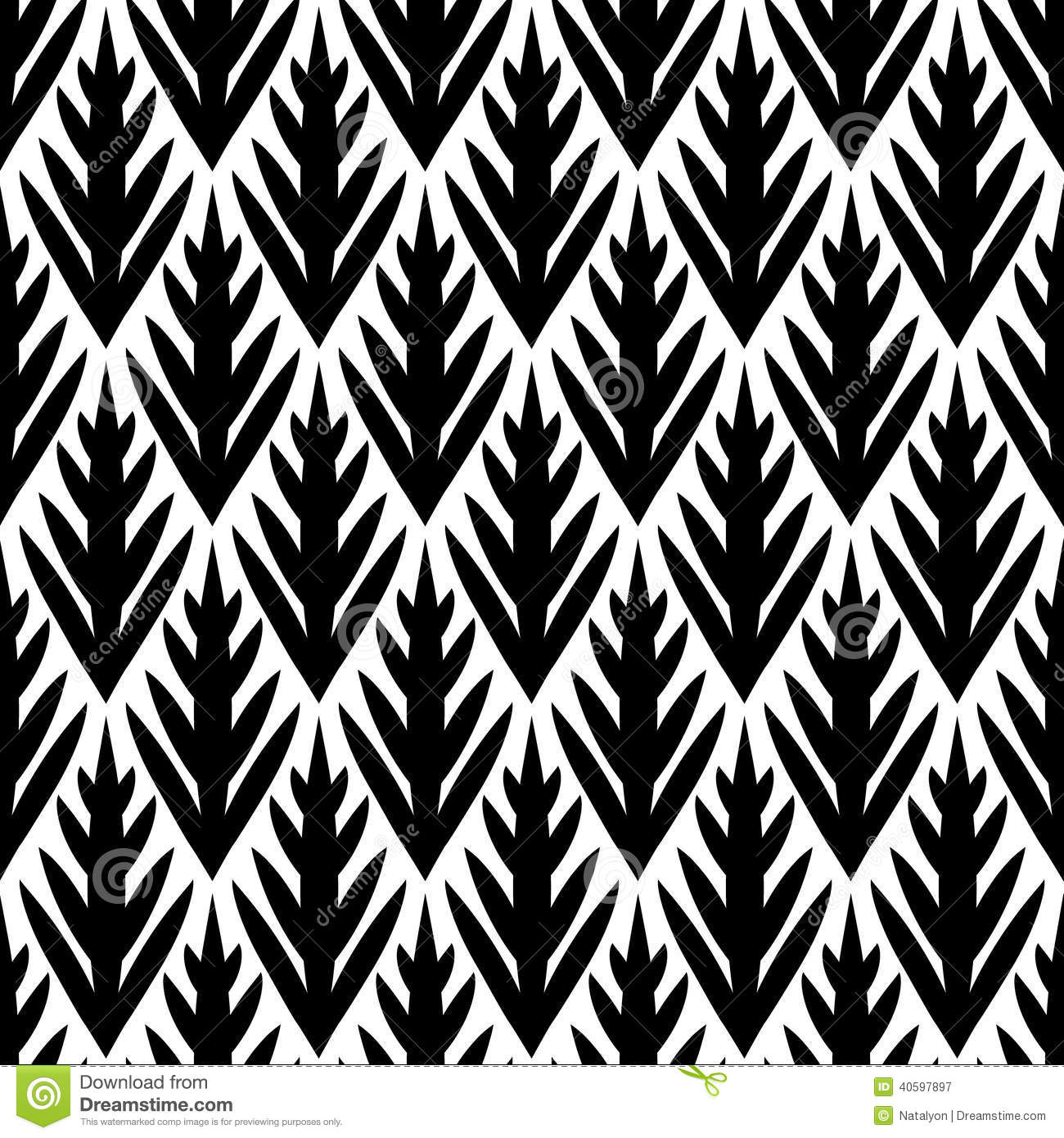 Black And White Simple Trees Geometric Ikat Seamless Pattern.