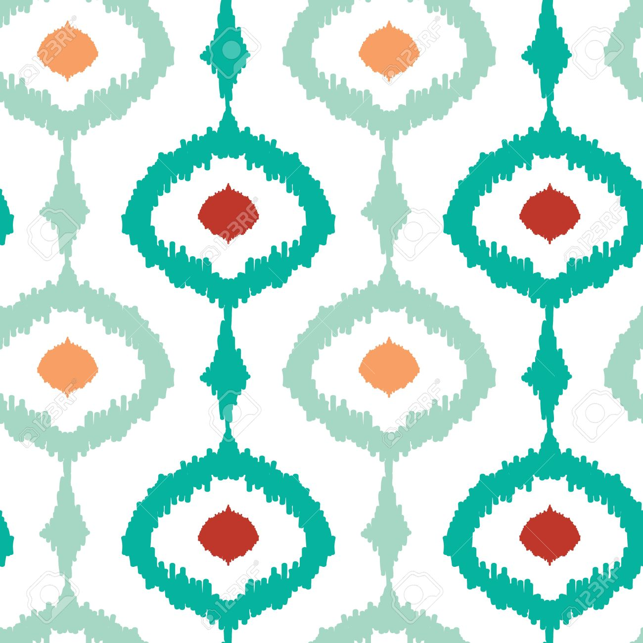 Colorful Chain Ikat Seamless Pattern Background Royalty Free.