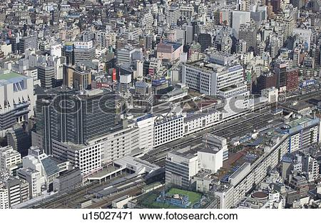 Stock Photography of Ikebukuro Station Area, Aerial View, Pan.