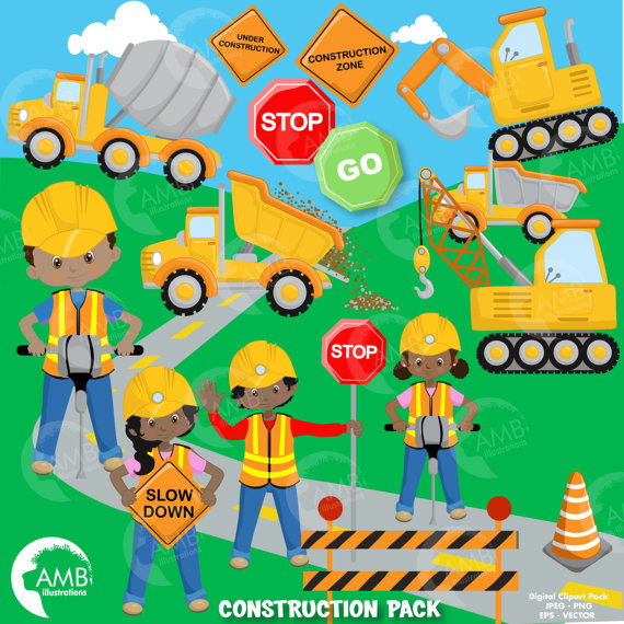 Construction Clipart, Dump Truck, Construction Boy and Girls.