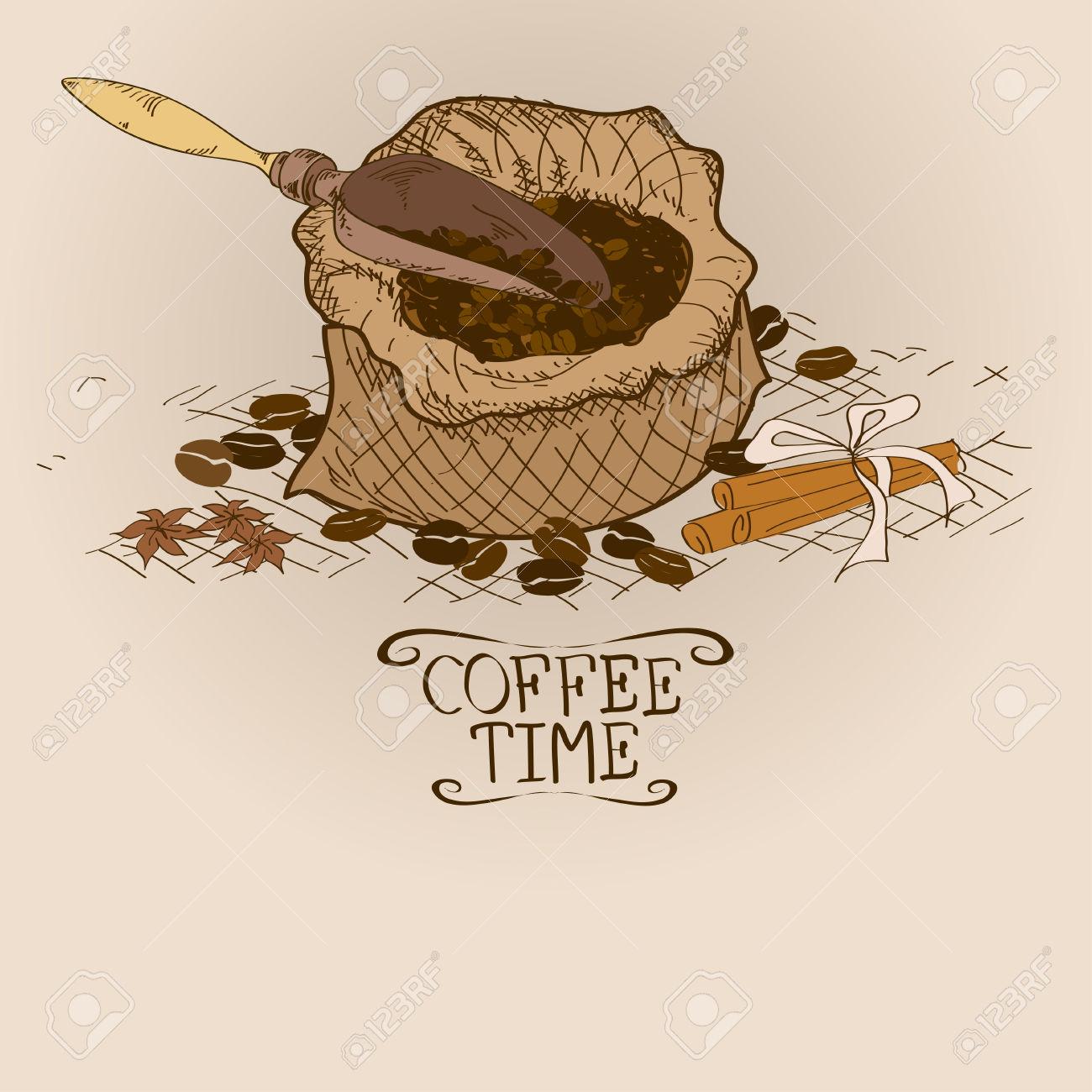 Illustrazione Con Il Sacchetto Di Caffè, Paletta, Spezie E Fagioli.