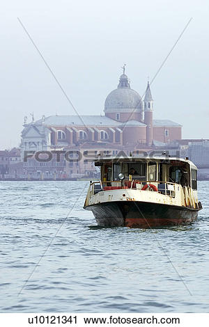 Stock Photography of Water bus in St Marks Basin Il Redentore (The.